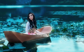 Picture girl, flowers, lake, boat, Asian