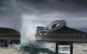 Wallpaper Truck, Overpass, Wave