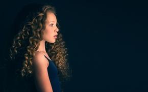 Picture girl, profile, curls, Meg Bitton