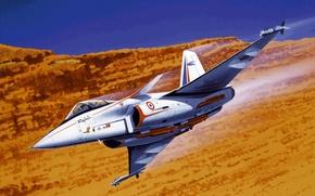 Picture war, art, painting, aviation, Dassault Rafale, jet fighter
