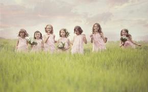 Picture flowers, joy, field, children, girls