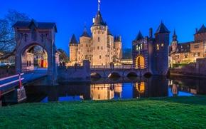 Picture night, bridge, the city, river, photo, castle, Netherlands, De Hair