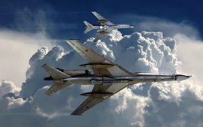 Picture Tu-22, missiles, aircraft, the sky, turn, clouds, tanks