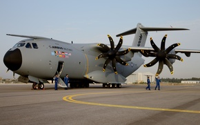 Picture the plane, military transport, Airbus, four-engine, turboprop, A400M