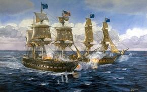Picture explosions, ships, bursts, battle, water, art, artist, Navy, sea, painting, shots, guns, Tom Freeman., Lady …
