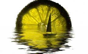 Picture transparency, reflection, boat, sail, lime