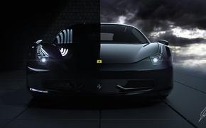 Picture Ferrari, 458, Front, Black, Italia, Hangar