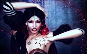 Picture girl, decoration, magic, Apple, art, amulet