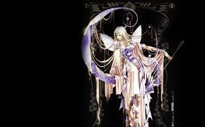 Picture decoration, wings, black background, arrows, goddess, Artemis, artemis