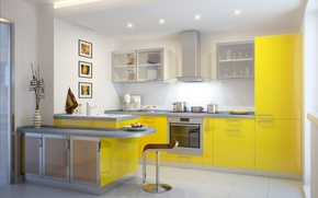 Picture Design, Table, Kitchen, The ceiling, Interior
