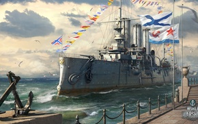 Picture Aurora, Holiday, World of Warships, Navy day of Russia