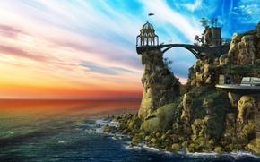 Picture sky, sea, rocks, monastery