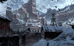 Wallpaper Girl, Mountains, Snow, Art, Tomb raider, Lara croft, Siberia, Rise of the Tomb Raider