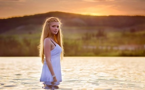 Picture girl, landscape, nature, background, in the water, Rosalie