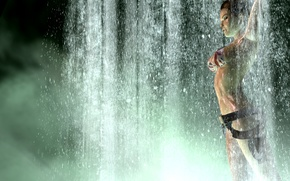 Picture swimsuit, girl, pose, weapons, the game, waterfall, Tomb Raider, lara croft