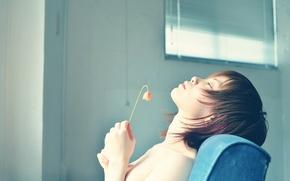 Picture flower, girl, profile, Innocence