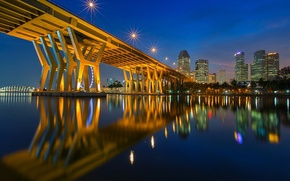 Picture bridge, lights, river, home, twilight
