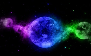 Picture light, smoke, color, planet, gas, the volume