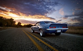 Picture road, sunset, Camaro