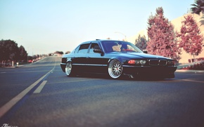 Picture road, tuning, BMW, classic, stance, bmw e38, 750il