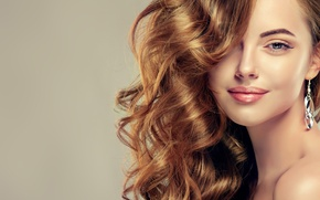 Picture girl, portrait, makeup, long hair, very beautiful