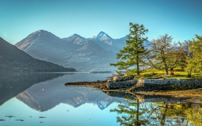 Picture trees, mountains, lake, reflection, Scotland, Scotland, Kintail, Lake Loch Duich, Five sisters of Kintail, Kintail, …