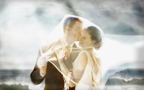 Picture girl, smile, tenderness, pair, bracelet, guy, veil, wedding, hug