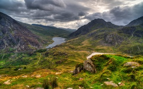 Picture clouds, UK, mountains, nature, Snowdonia, trees, lake, forest, clouds, the sky, grass, stones