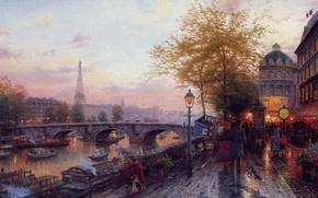 Wallpaper Paris, picture, Eiffel tower, Thomas Kinkade