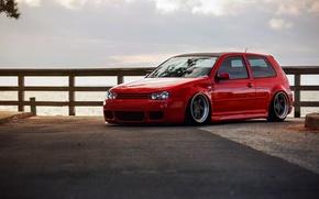 Picture red, volkswagen, red, Golf, golf, Volkswagen, stance, MK4