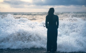 Picture girl, wave, surf