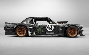 Picture Mustang, Ford, 1965, RTR, Monster Energy, Side, Block, Ken, Gymkhana, Hoonicorn, SEVEN, 845 hp