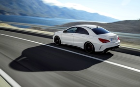 Picture Auto, shadow, White, Machine, Sedan, Car, Mercedes Benz, AMG, In Motion, The view from the …