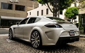 Picture white, trees, street, Porsche, turbo, white, Porsche, mansory, panamera, tree, street, Panamera, back, turbo, Mansory