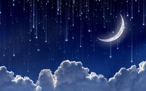 Picture the sky, space, stars, clouds, night, lights, background, widescreen, Wallpaper, the moon, a month, wallpaper, ...