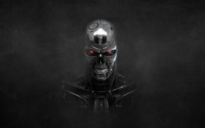 Picture the dark background, skull, robot, terminator, skeleton, terminator