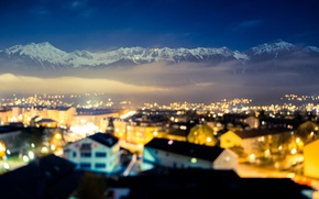Picture clouds, mountains, lights, home, Austria, roof, Innsbruck