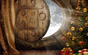 Picture light, holiday, balls, graphics, new year, the door, sparks, gifts, beads, tree, blind, curtain, box, …