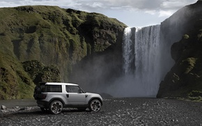 Picture landscape, mountains, rocks, waterfall, Land Rover, Sport