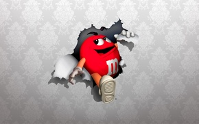 Picture red, wall, Wallpaper, red, M&Ms