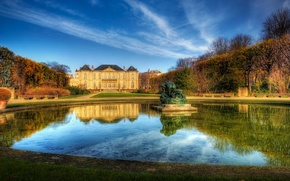 Picture the sky, water, house, Paris, fountain, France, the estate