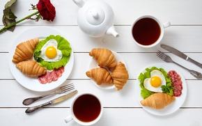 Wallpaper cup, croissant, hearts, coffee, romantic, coffee, love, Breakfast, growing, heart, breakfast, rose