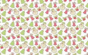 Picture mood, holiday, gift, texture, art, New year, snowman, tree, herringbone