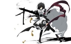 Picture girl, anime, art, the maid, machine gun, eye patch