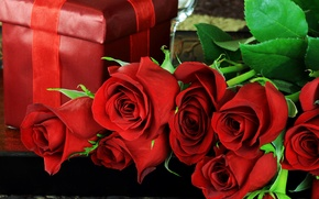 Picture leaves, flowers, holiday, box, gift, roses, petals, red
