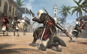 Picture Edward Kenway, Assassin's Creed IV: Black Flag, Edward Kenway, trees, Assassins Creed, the city, assassin, ...