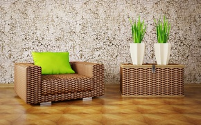 Picture design, interior, plants, chair, pillow