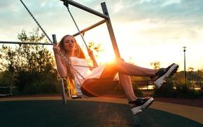 Picture girl, the sun, swing, sunrise, Anton Blok