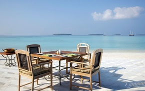 Picture beach, ocean, view, picnic, white sand, lagoon, dining