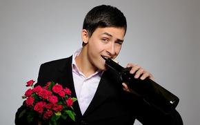 Wallpaper look, bottle, bouquet, Real gentleman, red, gentleman, cute, guy, roses, costume